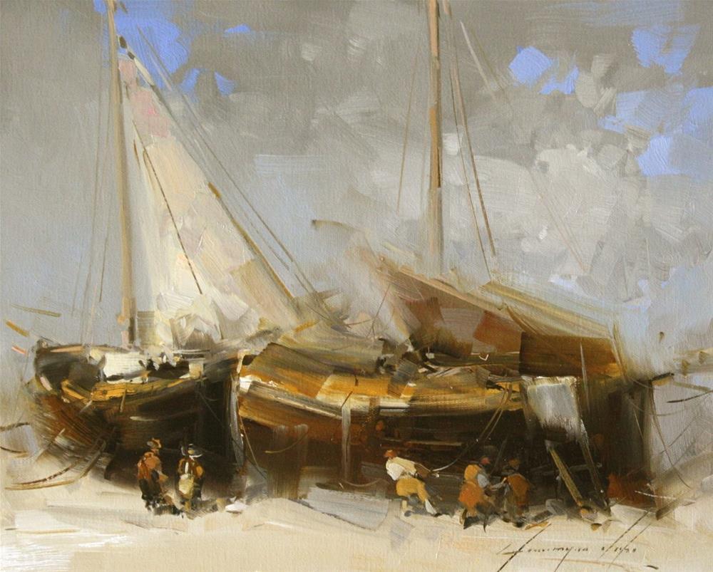 """FISHING BOATS ORIGINAL OIL PAINTING ON CANVAS HANDMADE CLASSIC ART"" original fine art by V Y"