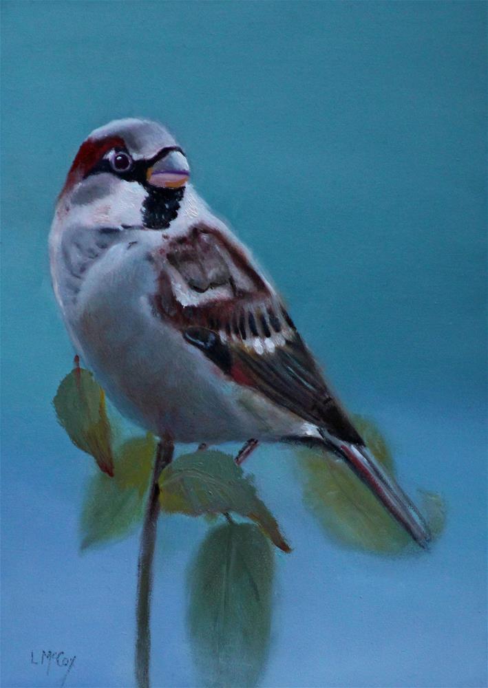 """""""Foggy Morning Sparrow"""" original fine art by Linda McCoy"""