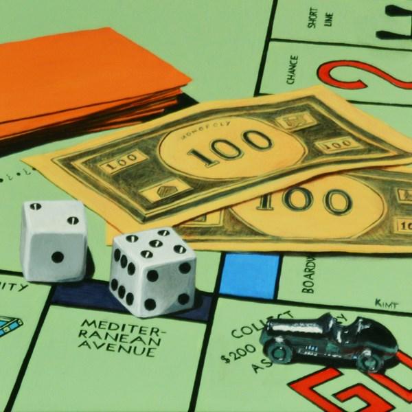 """Monopoly Board Game Study"" original fine art by Kim Testone"