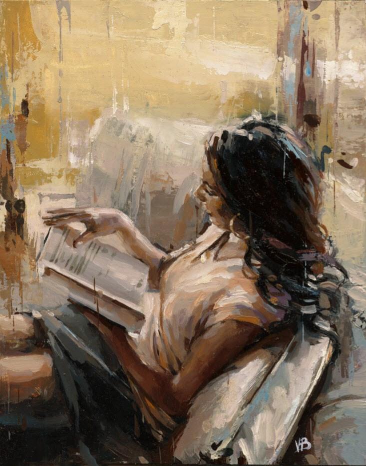 """Reading a Book No.4"" original fine art by Victor Bauer"