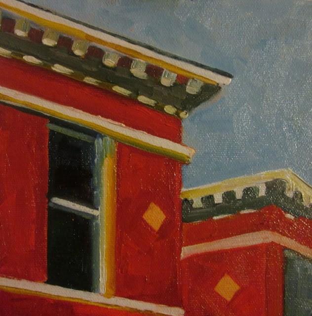 """""""Edward Hopper Rooftops"""" original fine art by Mary Sheehan Winn"""