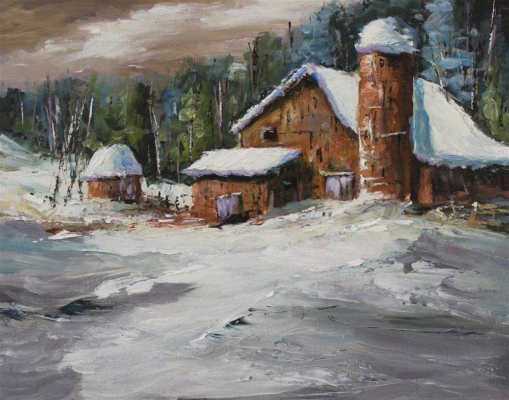 """Winter snow barn landscape impressionism"" original fine art by Alice Harpel"