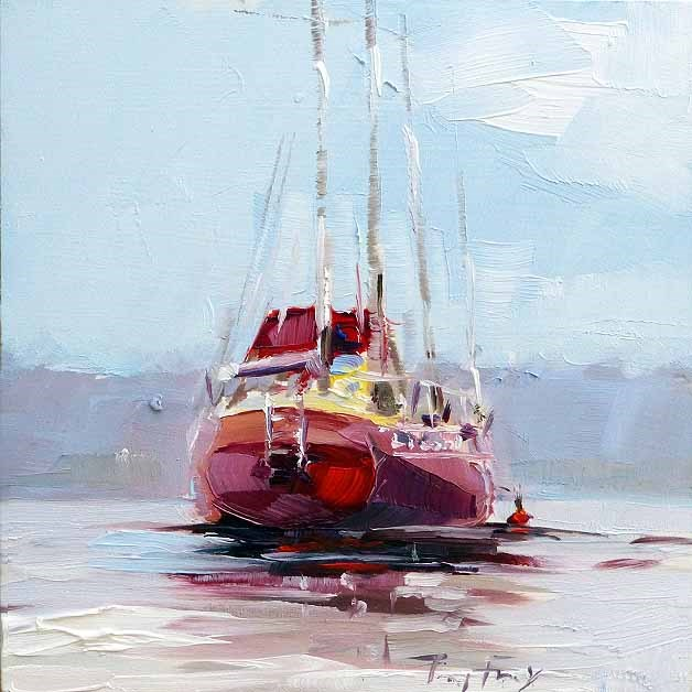 """Rote Yacht"" original fine art by Jurij Frey"