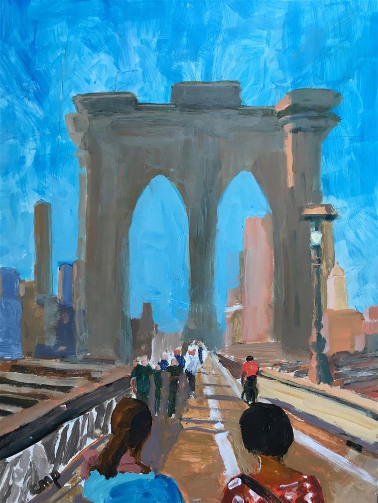 """Brooklyn Bridge"" original fine art by Christine Parker"