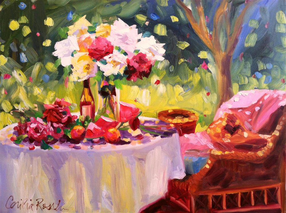 """""""SUMMER TABLE"""" original fine art by Cecilia Rosslee"""