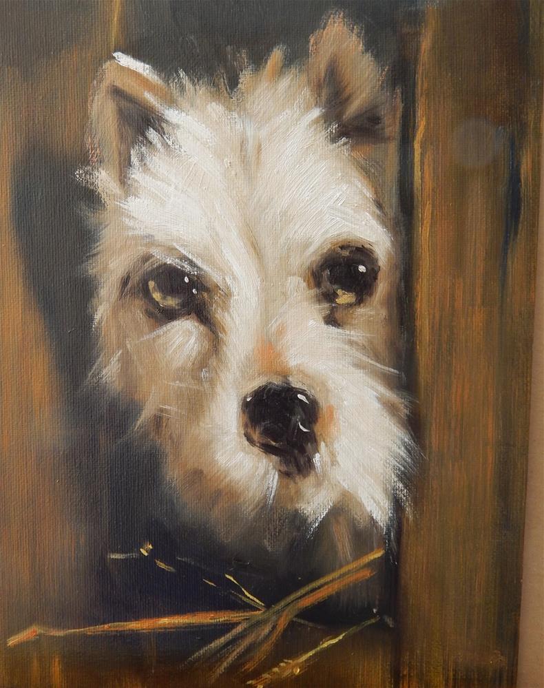 """Copy, Terrier by Sir Edwin Landseer"" original fine art by Megan Schembre"