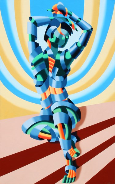 """""""Mark Webster - Mandy on the Staircase - Abstract Geometric Figurative Painting"""" original fine art by Mark Webster"""