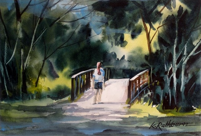 """Walking Among the Trees"" original fine art by Kathy Los-Rathburn"