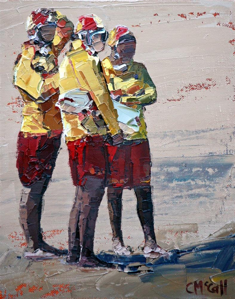 """""""Three Lifeguards"""" original fine art by Claire McCall"""