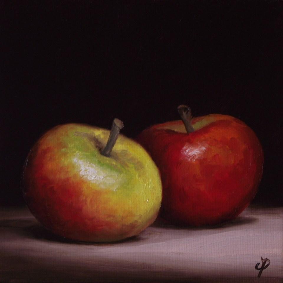 """Two Cox Apples"" original fine art by Jane Palmer"
