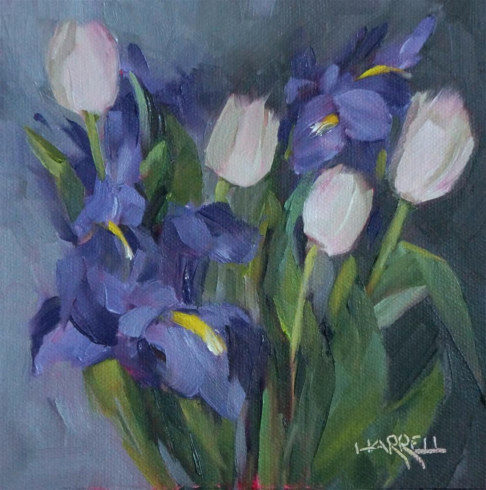 """Iris and Tulips"" original fine art by Sue Harrell"