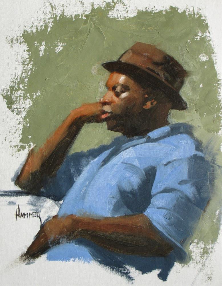 """""""Dude in a hat  11in x 14in  oil"""" original fine art by Claudia Hammer"""