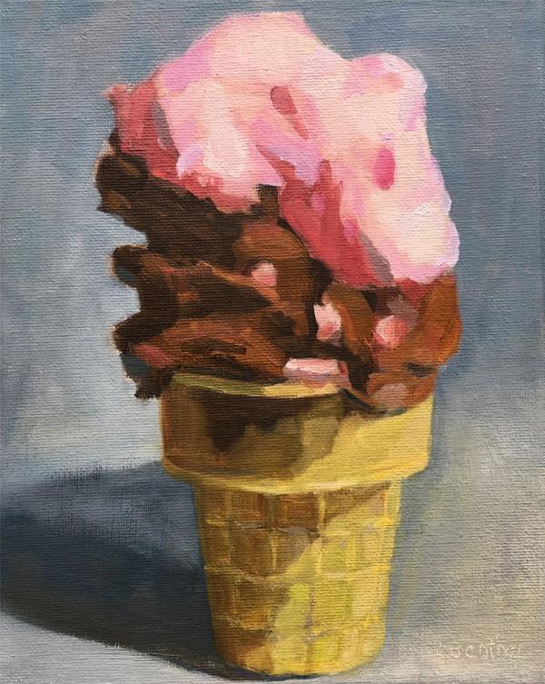 """The Ice Cream Challenge"" original fine art by Robin Rosenthal"