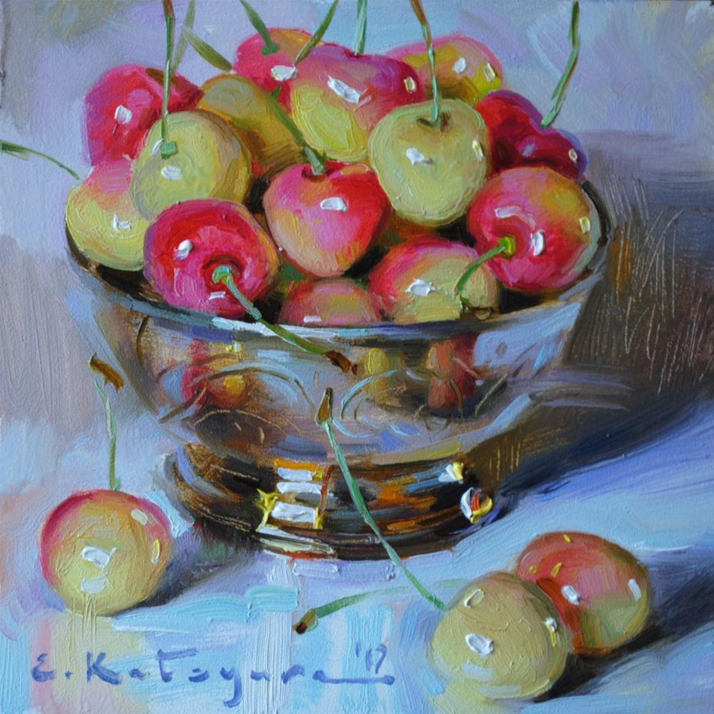 """Yellow Cherries in Silver"" original fine art by Elena Katsyura"
