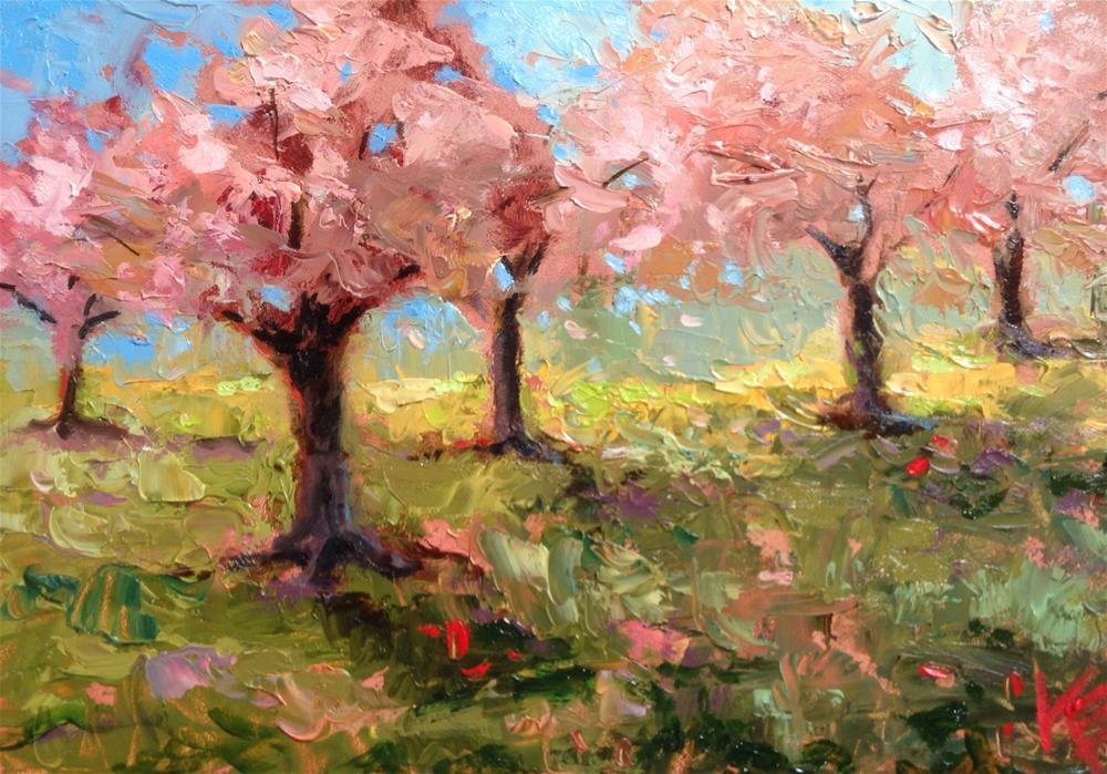 """Cherry Blossoms"" original fine art by Krista Eaton"