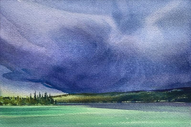 """""""Moody Sky: 6x9 watercolour on paper"""" original fine art by Ken Faulks"""