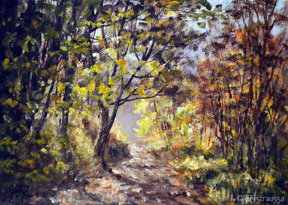 """Pathway Through Somerset Woods (Charity)"" original fine art by Gloria Ester"