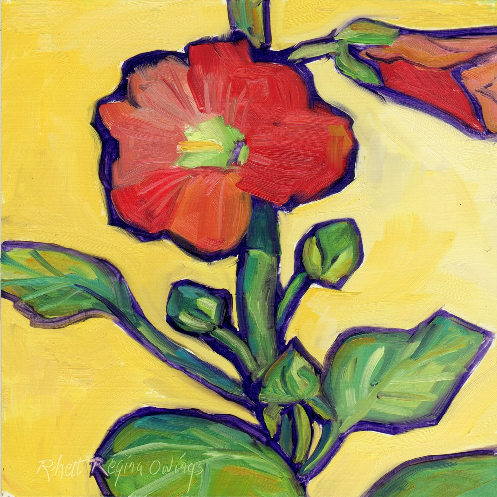 """Hollyhocks in the Sunshine"" original fine art by Rhett Regina Owings"