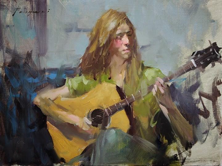 """""""Guitar Girl"""" original fine art by Fongwei Liu"""