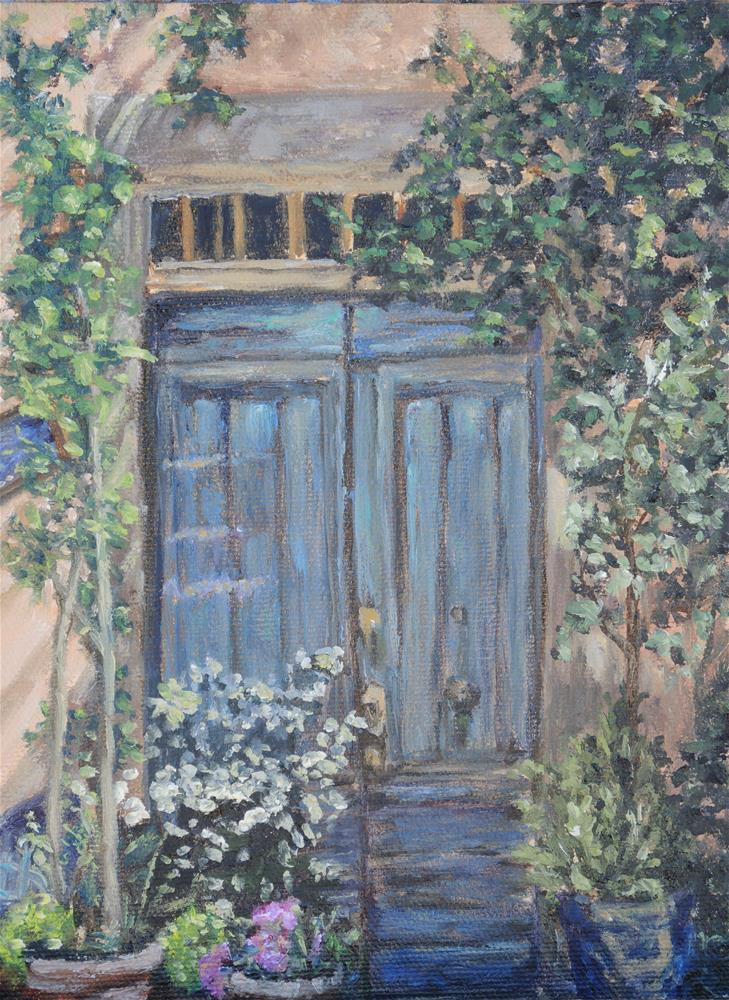 """French Blue Door"" original fine art by Candi Hogan"