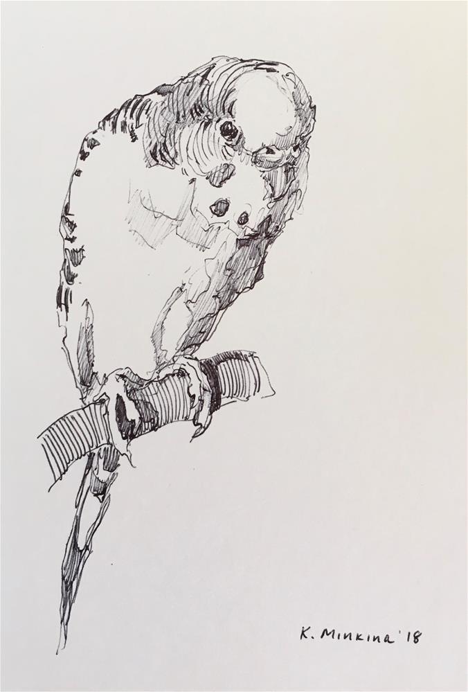 """Budgie59-pen"" original fine art by Katya Minkina"