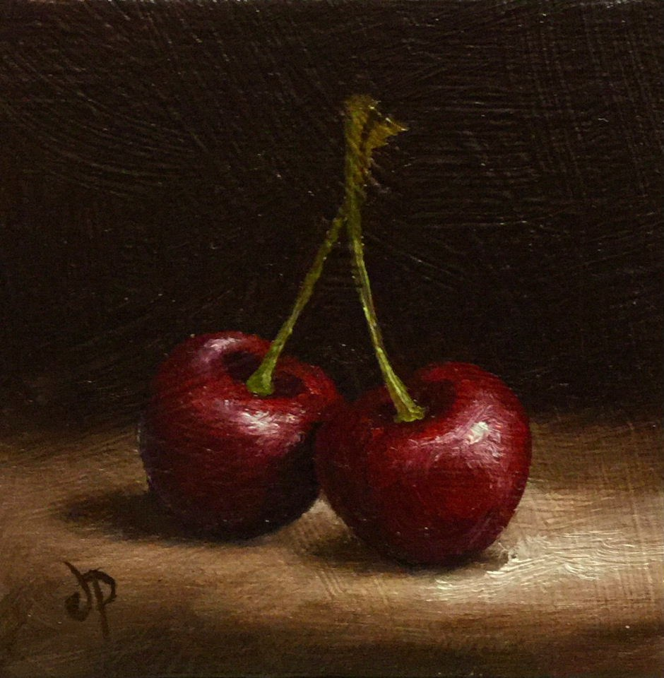 """Cherry pair"" original fine art by Jane Palmer"