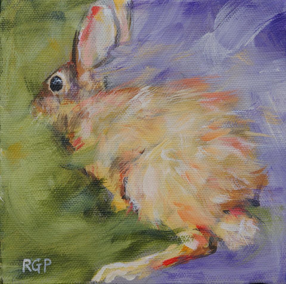 """Backyard Visitor"" original fine art by Rhea  Groepper Pettit"