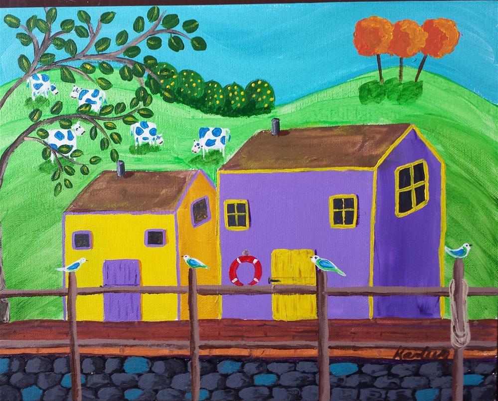 """Down by the Dock"" original fine art by Karleen Kareem"