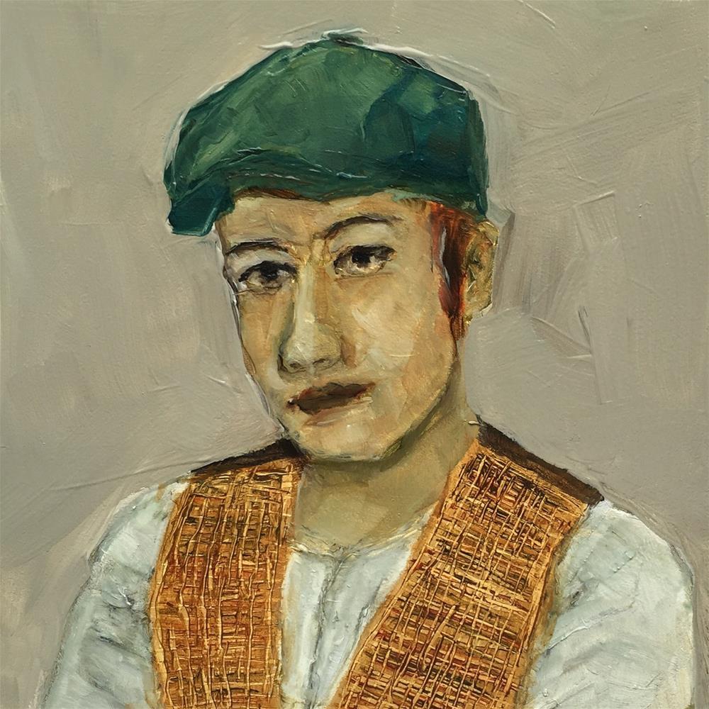 """""""ORIGINAL Portrait Abstract Tweed Vest Male Art Colette Davis 6x6 Painting OIL"""" original fine art by Colette Davis"""