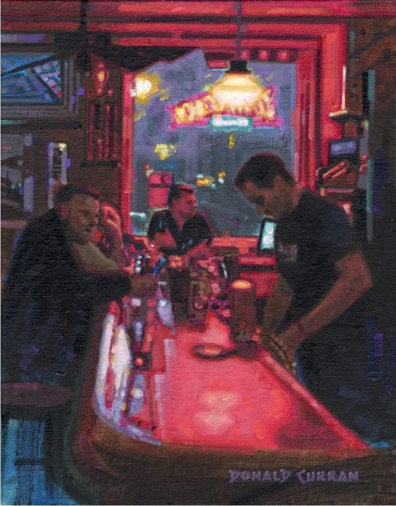 """Night at the Bar"" original fine art by Donald Curran"
