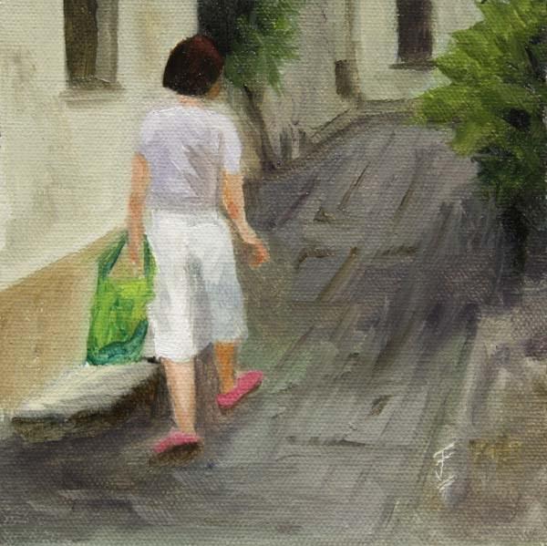 """Shopping Trip"" original fine art by Jane Frederick"