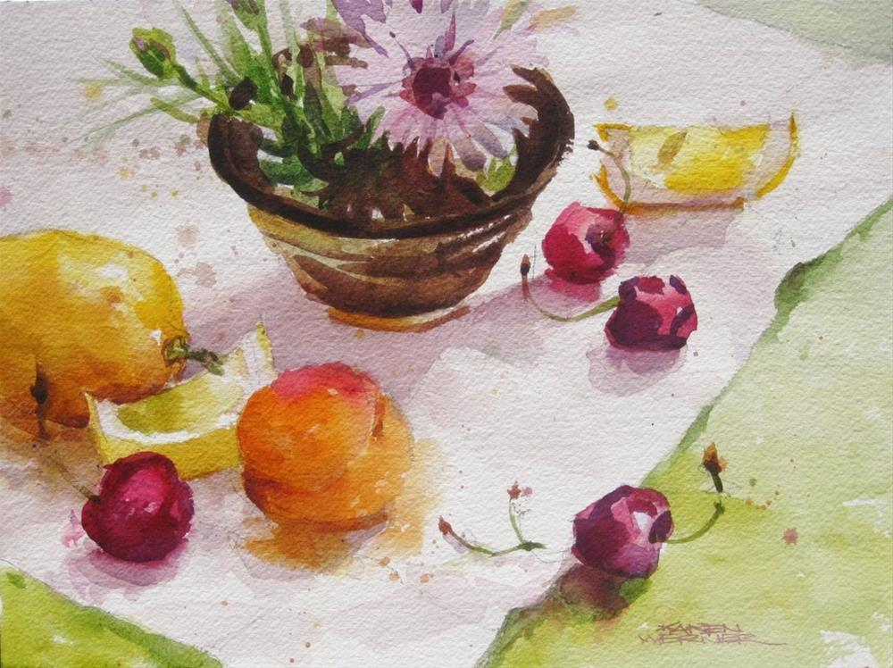 """Flower Bowl With Fruit"" original fine art by Karen Werner"