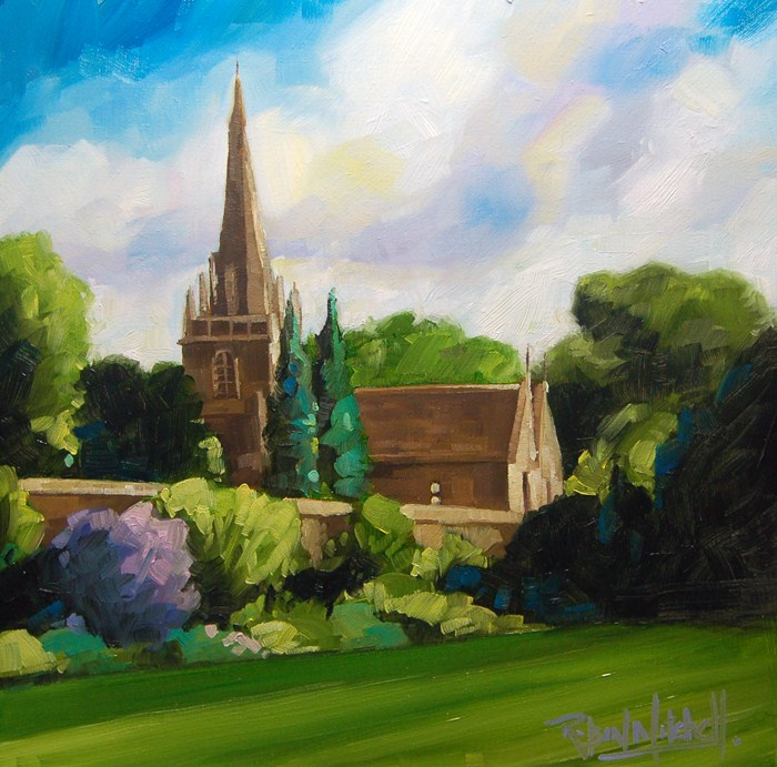 """No 515 The Church Green"" original fine art by Robin J Mitchell"
