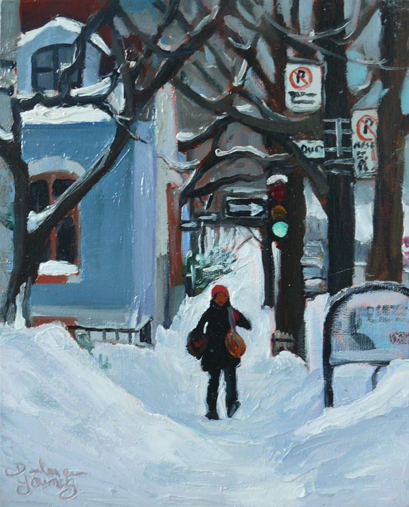 """Montreal Winter Scene, McGill Ghetto"" original fine art by Darlene Young"