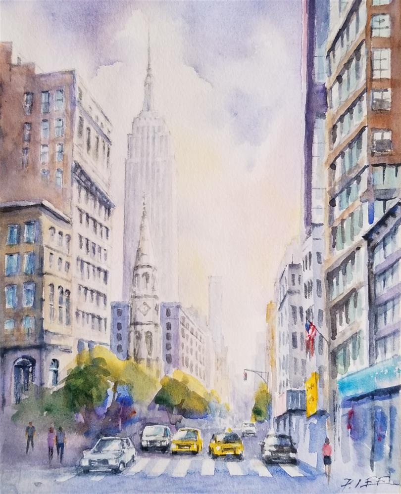 """5th Avenue, NYC"" original fine art by Peter Lee"