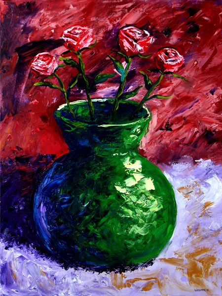 """Mark Webster - Roses in Vase Still Life - Impressionist Acrylic Painting"" original fine art by Mark Webster"