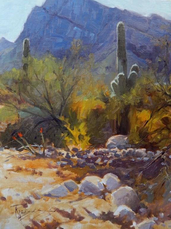 """""""Tucson Territory Arizona landscape painting by Robin Weiss"""" original fine art by Robin Weiss"""