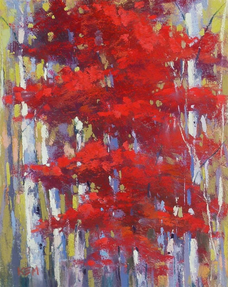 """""""Simplify Autumn Trees with Clear Gesso"""" original fine art by Karen Margulis"""