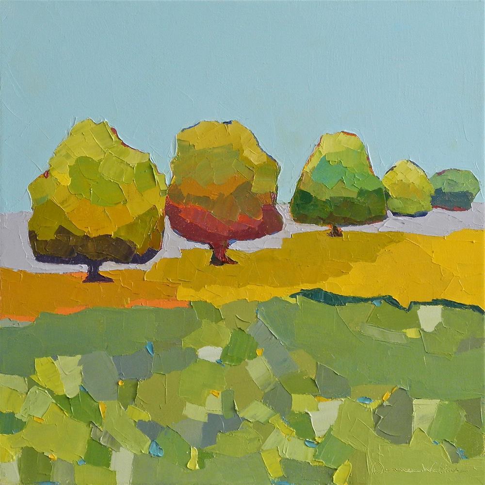 """Patchwork Trees"" original fine art by Donna Walker"