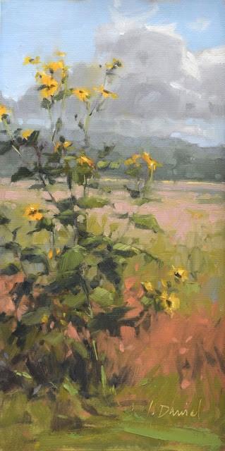 """Wild Sunflowers"" original fine art by Laurel Daniel"