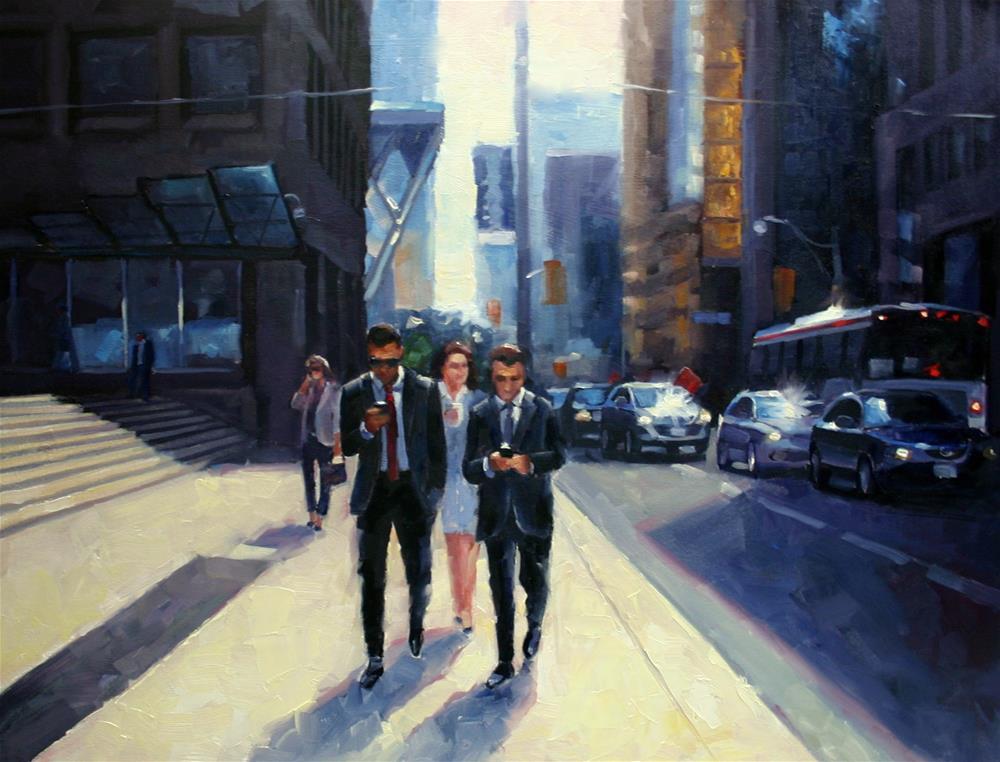 """Toronto Financial District, Summer"" original fine art by Catherine Jeffrey"