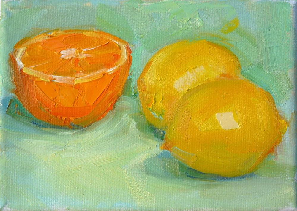 """Half Orange and Lemons,still life,oil on canvas,5x7,price$200"" original fine art by Joy Olney"