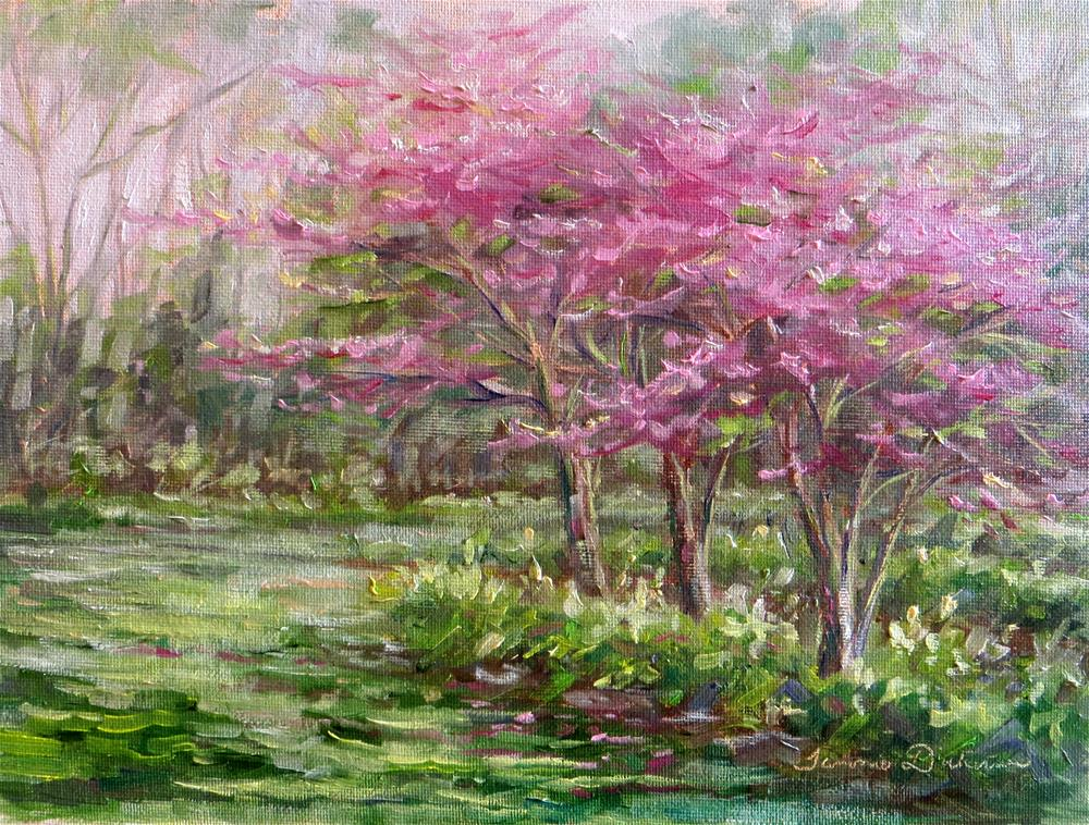 """""""Red Buds in the Peony Garden"""" original fine art by Tammie Dickerson"""