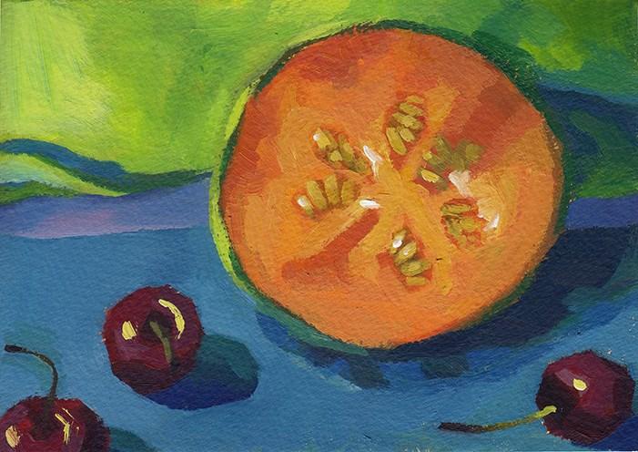 """Cantaloupe"" original fine art by J M Needham"