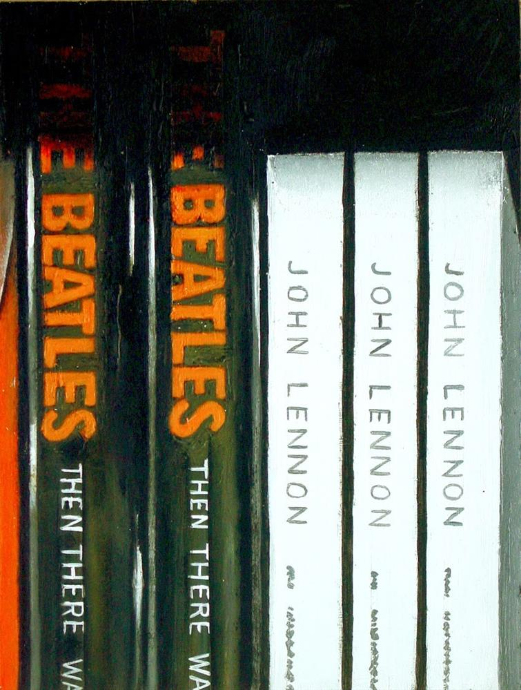 """""""Then There Was Music- Still Life Painting Of Books On The Beatles and John Lennon"""" original fine art by Gerard Boersma"""