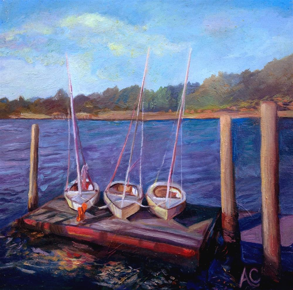 """Trio of Boats"" original fine art by Anna Castelli"