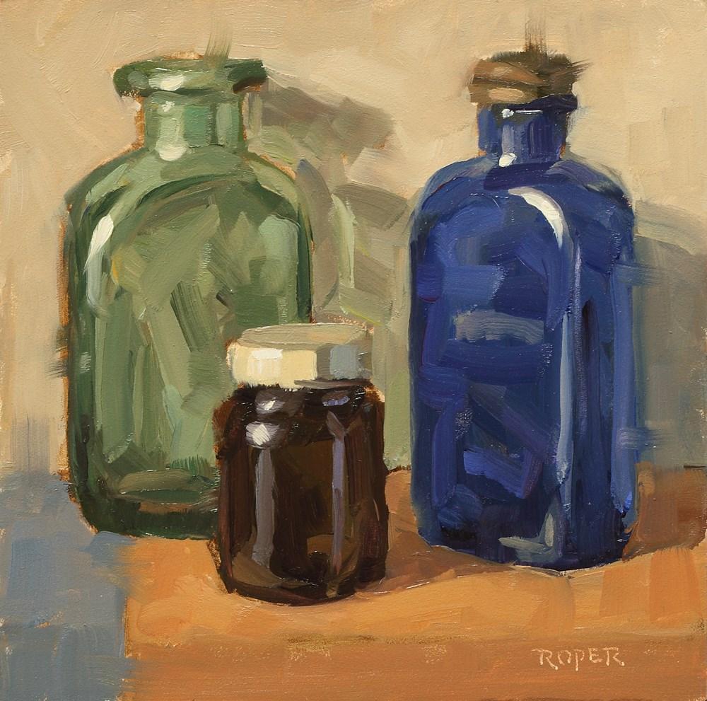 """Old Bottles - Blue, Green and Amber"" original fine art by Stuart Roper"