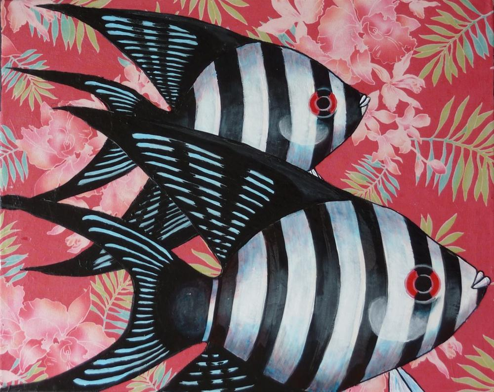 """Floral Reef Angelfish"" original fine art by Ande Hall"
