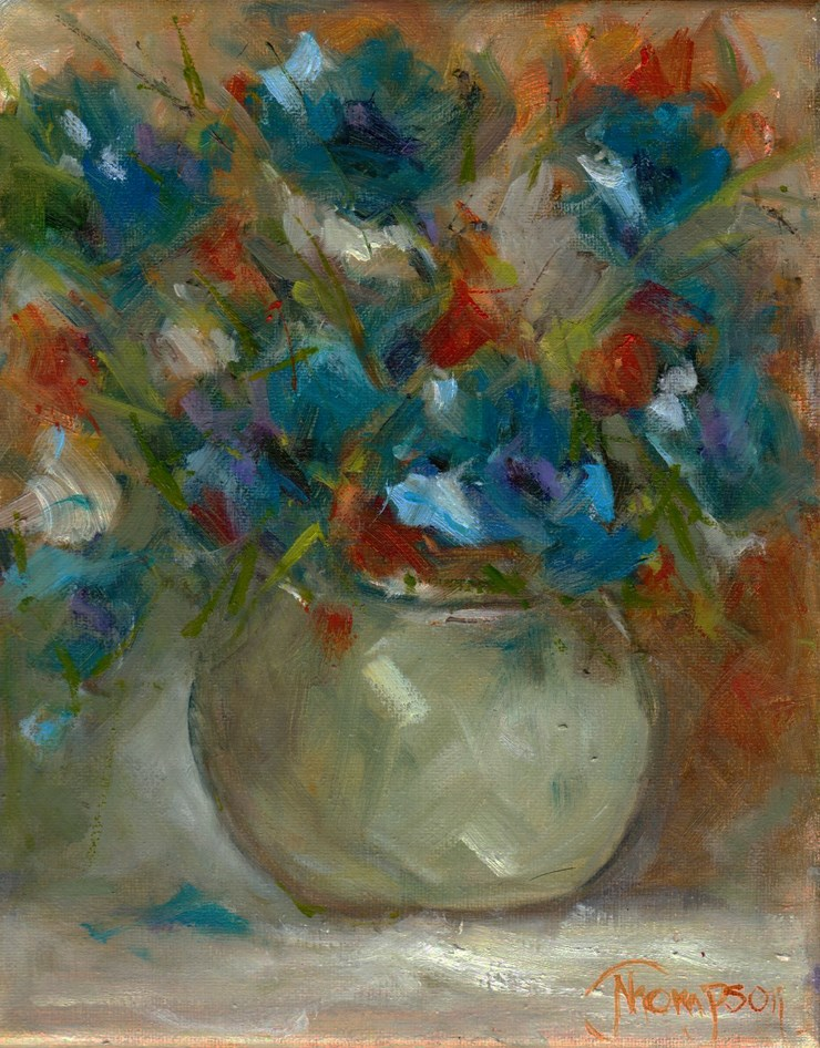 """Pot of Blue Flowers"" original fine art by Norma Thompson"
