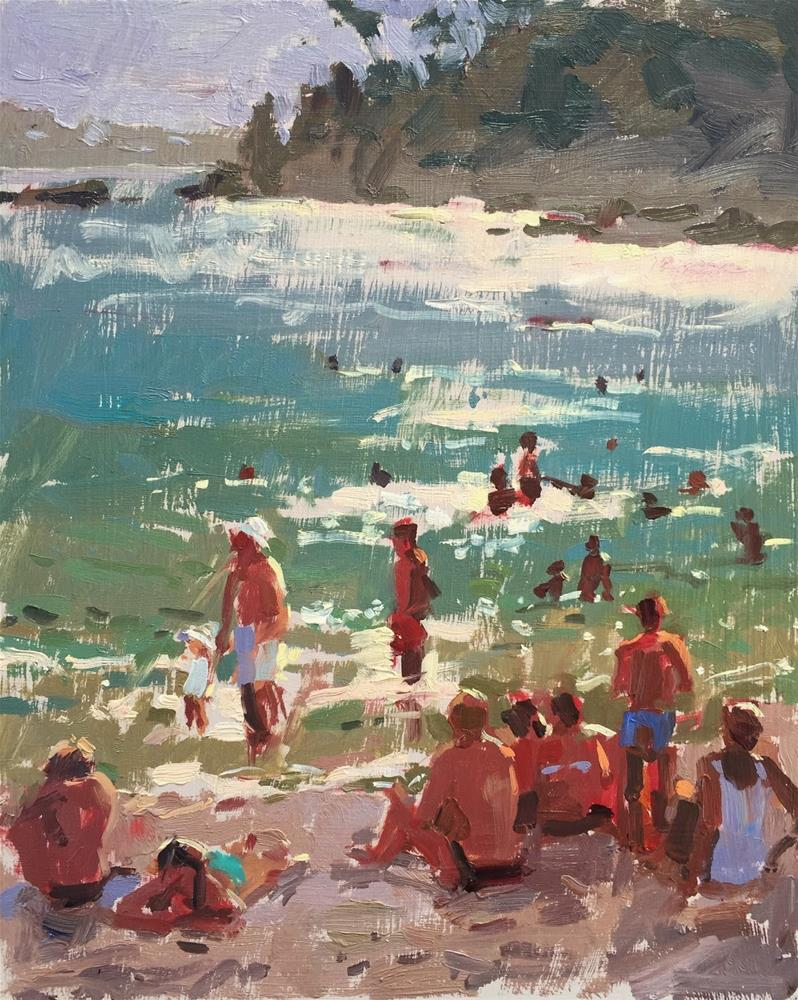 """""""Hot day at the beach"""" original fine art by Haidee-Jo Summers ROI"""